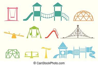 別, セット, icons., 装置, 要素, 運動場, playground., アイコン, タイプ, 子供