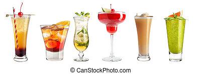 別, セット, isolated., カクテル, バックグラウンド。, 白, 強い, 飲み物