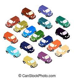 別, セット, isometric., 自動車, イラスト, color., ベクトル