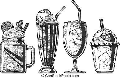 別, セット, milkshake