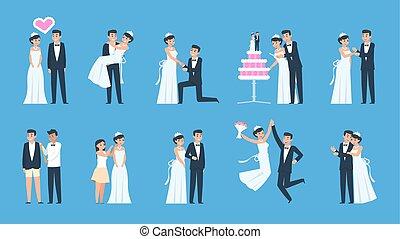 別, ダンス, 恋人, 花婿, celebrating., 抱き合う, 漫画, ベクトル, bride., 準備, 結婚式, 接吻, 現場