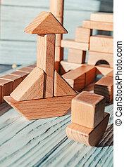 別, デザイナー, ブロック, 形態, 木製である, 子供