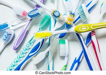 別, バックグラウンド。, 型, の上, above., 色, 終わり, 白, 歯ブラシ, 光景