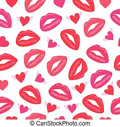 別, パターン, プリミティブ, seamless, 唇, レトロ, 心