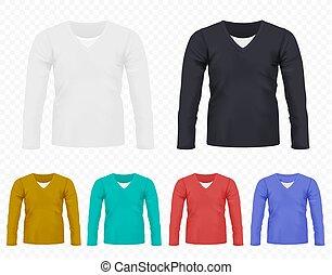 別, フルである, collection., set., 男性, editable, 色, 長い間, tシャツ, 現実的, tshirt, ベクトル, 袖