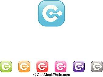 別, ベクトル, アイコン, モビール, デザイン, 手紙, 色, c, app, 概念
