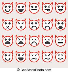 別, ベクトル, セット, emoticons
