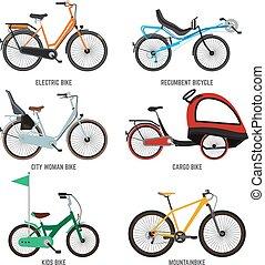 別, ベクトル, family., 隔離しなさい, bicycles, 自転車, 女性, イラスト, 白い男性, タイプ, kids.