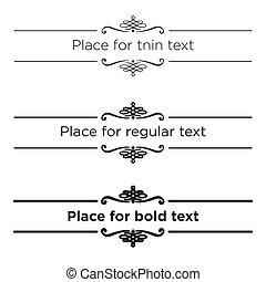 別, ボールド体, elements., テキスト, 仕切り, text., ストローク, レギュラー, レトロ, 型, 薄くなりなさい, ボーダー, set., 大きさ