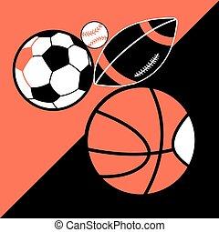 別, ボール, ポスター, 明るい, ベクトル, スポーツ