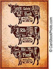 別, ポスター, 3, 図, 切断, 牛