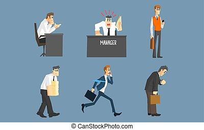 別, マネージャー, 労働者のオフィス, 人々, セット, 状態, イラストビジネス, 女性, ベクトル, 特徴, マレ