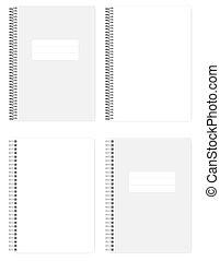 別, ワイヤー, mockup, らせん状の跳躍, ノート, a4, ブランク, 白