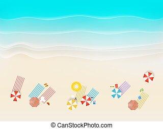 別, 上, accessories., 浜, 砂, 光景