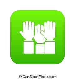 別, 人々, デジタル, の上, 緑, 上がる 手, アイコン