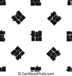 別, 人々, パターン, seamless, の上, 黒, 上がる 手