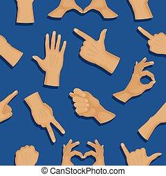 別, 人間の人々, コミュニケーション, seamless, ジェスチャー, ベクトル, 背景, 手, パターン, deaf-mute, 腕