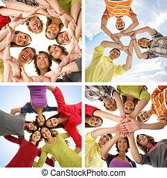 別, 作られた, グループ, いくつか, ティーネージャー, 隔離された, pictures), 幸せに微笑する, 白, (collage