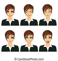 別, 女性ビジネス, 若い, 顔の 表現