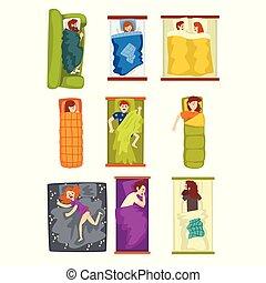 別, 女, 背景, 袋, 人々, セット, ポジション, イラスト, 睡眠, ベクトル, ベッド, の上, ソファー, 白, 人, 光景