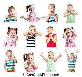 別, 子供, ポジティブ, 隔離された, コレクション, 感情, 背景, 白
