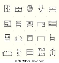 別, 家具, 線, 種類, アイコン