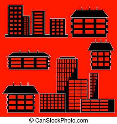 別, -, 建物, イラスト, 家, ベクトル, 種類