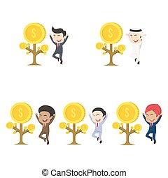 別, 彼の, 木, セット, レース, ビジネスマン, コイン, 成長しなさい, 幸せ