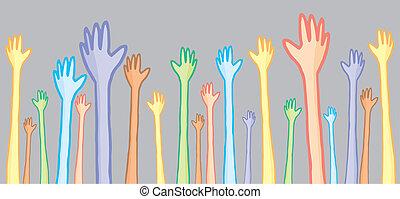 別, 手, 多様性, 上げること, 人々