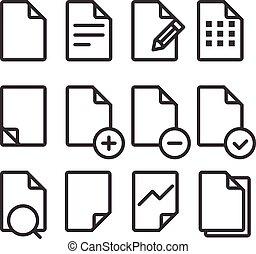 別, 文書, 円形にされる, アイコン, corners., デザインを設定しなさい, eleme