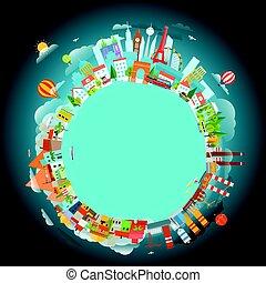 別, 概念, illustration., locations., テキスト, 旅行, ベクトル, copy-space...
