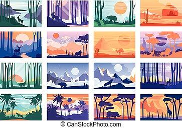 別, 横, 美しい, 動物, ポスター, カバー, 日, 野生, 風景, 現場, 自然, 平和である, コレクション, イラスト, テンプレート, 旗, 時間, 雑誌, ベクトル