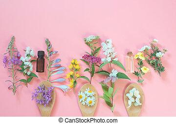 別, 牧草地, 野生の 花, 上に, ピンク, バックグラウンド。, 花, 構成, ∥で∥, コピー, space., 光景, から, above., エステ, concept.