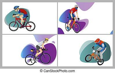 別, 男性, コレクション, bicycles, 漫画, タイプ