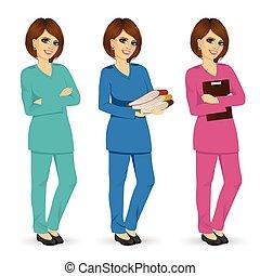 別, 色, 3, ユニフォーム, ポーズを取る, ごしごし洗う, 看護婦