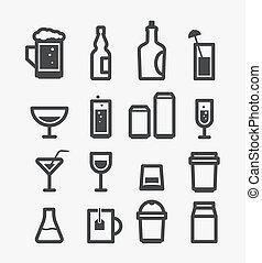 別, 要素, アイコン, set., デザイン, 飲み物