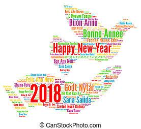 別, 言語, 2018, 年, 新しい, 幸せ