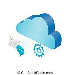 別, 計算, シンボル, 3d, 雲, アイコン