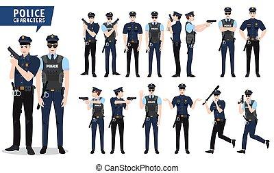 別, 警察, 特徴, 警官, set., 特徴, 銃, ベクトル, 保有物, 姿勢