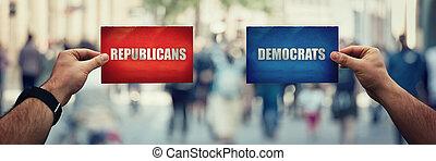 別, 赤, 政治的である, 共和党員, 有色人種, 保有物, 上に, バックグラウンド。, 通り, 民主主義者, 未来, 作戦, ∥あるいは∥, 手, ろば, 2, symbols., ∥対∥, 青, 概念, 押し込められた, ∥対∥, 象, シート, ペーパー, パーティー