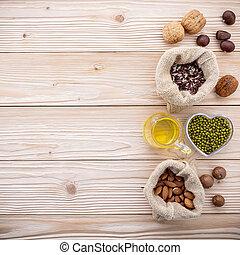 別, 選択, 種類, 原料, 健康, ナット, の上, 木製である, 食物, セット, .various, テーブル。