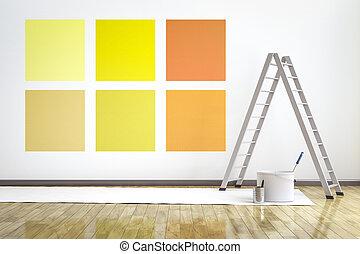 別, 部屋, 壁, 6, 色, 選びなさい