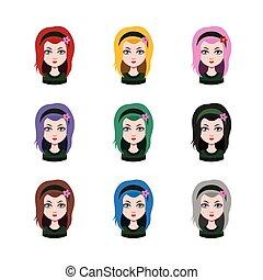 別, ∥髪をした∥, -, 長い髪, 色, 9, 女の子