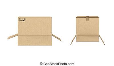 別, 2, 隔離された, レンダリング, 箱, 背景, 白, ボール紙, 開いた, 大きさ