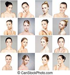 別, collection., 健康, 肖像画, concept., 持ち上がること, 若い, プラスチック, コラージュ, 女性, メーキャップ, skincare, 手術, 顔, 美しい, faces., 女性