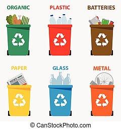別, illustration., イラスト, ペーパー, リサイクル, 金属, 有機体である, イラスト, ガラス, waste., ベクトル, 大箱, 分離, 電池, リサイクルしなさい, 無駄, プラスチック, タイプ, 有色人種