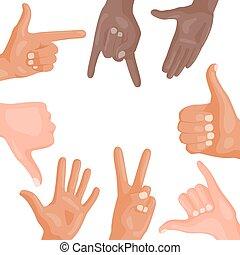 別, illustration., 人々, コミュニケーション, ジェスチャー, ベクトル, 人間の術中, メッセージ...