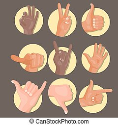 別, illustration., 人々, コミュニケーション, ジェスチャー, ベクトル, 人間の術中, メッセージ, deaf-mute, 腕