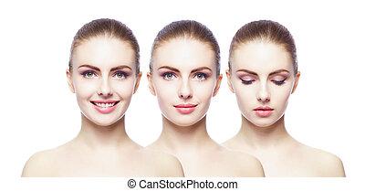 別, portraits., エステ, コラージュ, concept., プラスチック, 女性, 持ち上がること, 手術, 顔