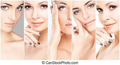 別, portraits., 健康, concept., 持ち上がること, 若い, プラスチック, コラージュ, 女性, メーキャップ, skincare, 手術, 顔, 美しい, faces., 女性
